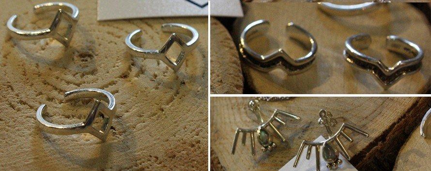 Модные серебренные фаланговые кольца и серьги