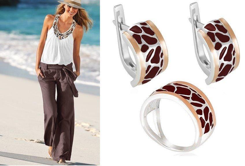Серьги и кольцо с ювелирной эмалью