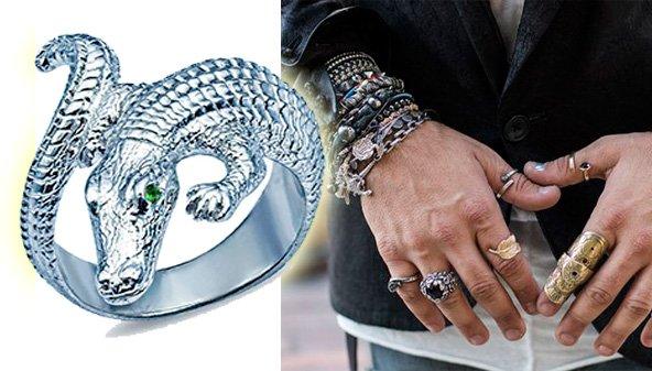 Мужское кольцо в виде крокодила