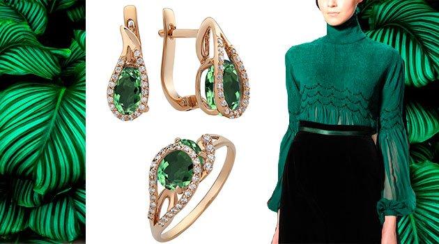 Ювелирные украшения с зеленым топазом