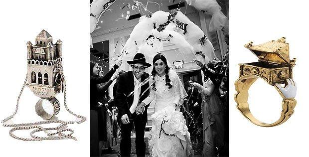 Еврейская свадебные кольца в виде дома