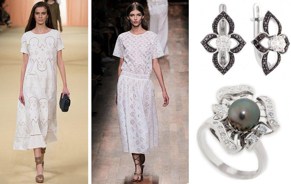 Белое платье с кружевами и украшения с бриллиантами