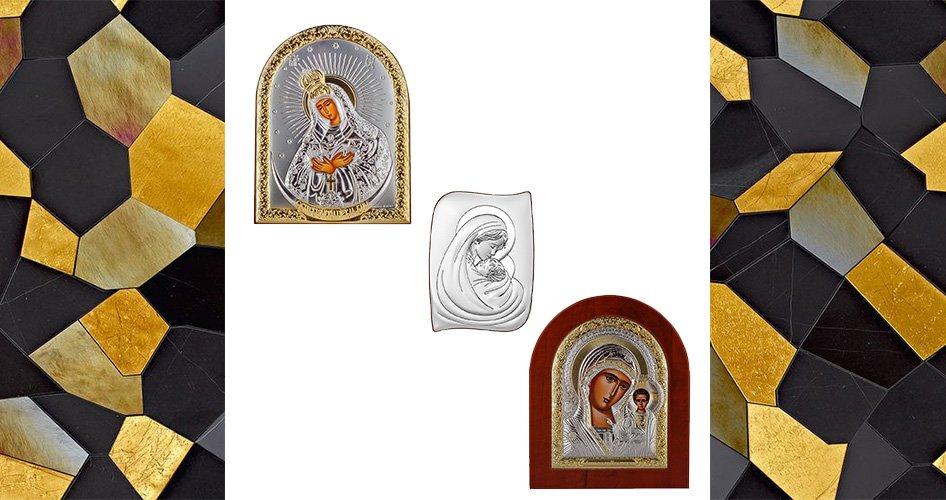 Иконы с серебром и деревом