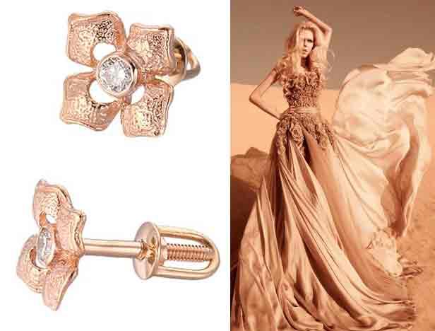 Золотые серьги-пусеты с бриллиантами