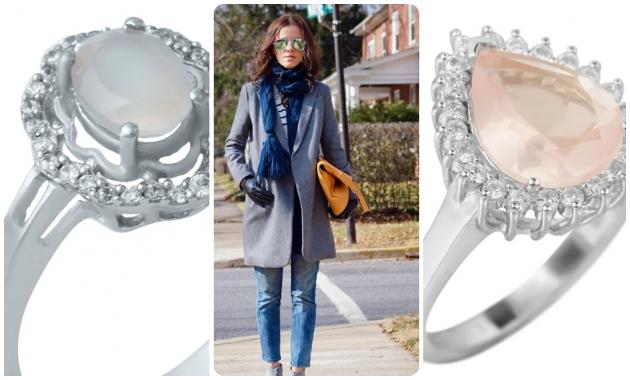 Серебряное кольцо с кварцем розовым