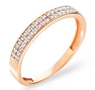 Обручальное кольцо из красного золота с фианитами