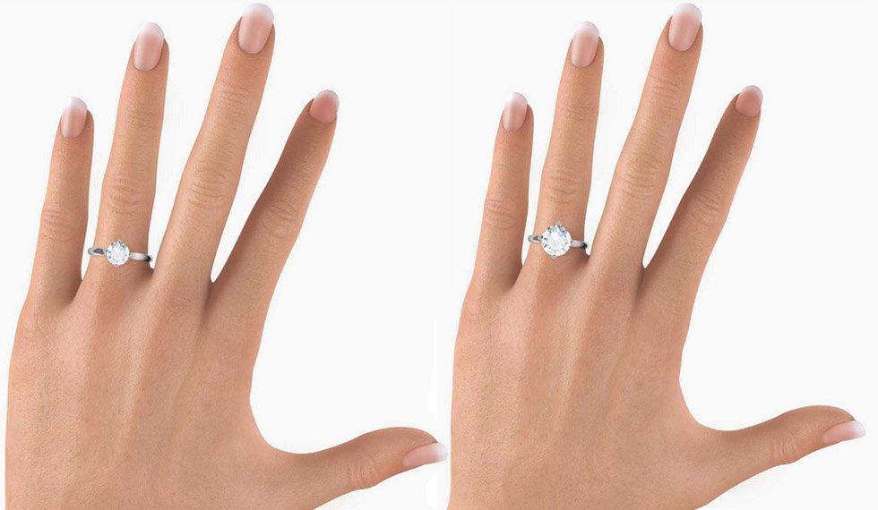 Кольцо с круглой формой огранки бриллианта