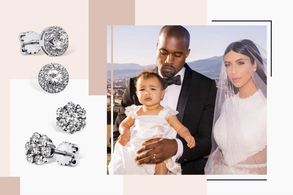 Бриллиантовые пусеты белое золото