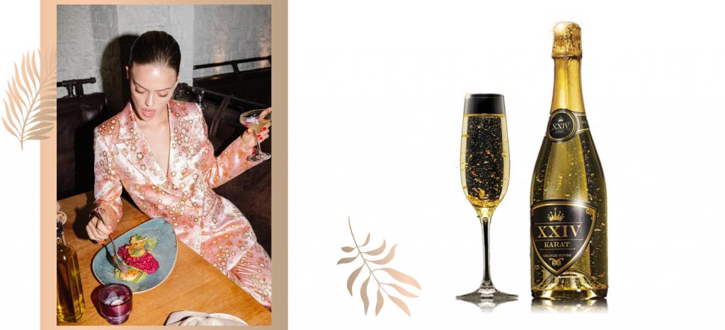 Шампанское с сусальным золотом