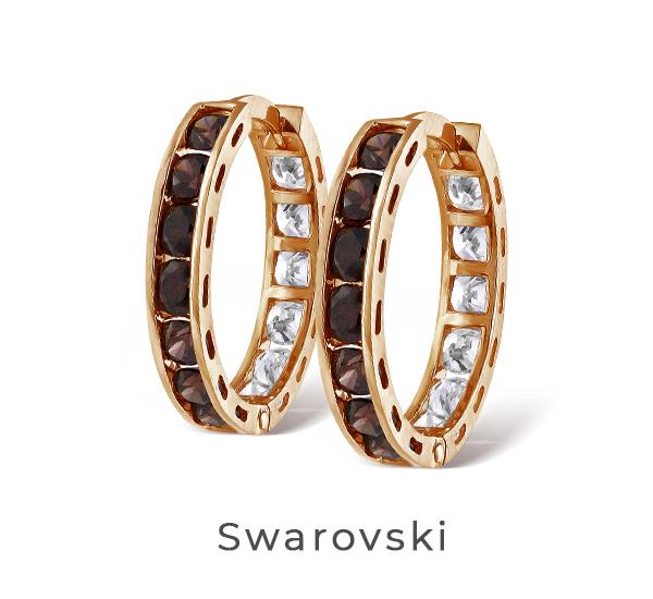 Золотые серьги с камнями Swarovski
