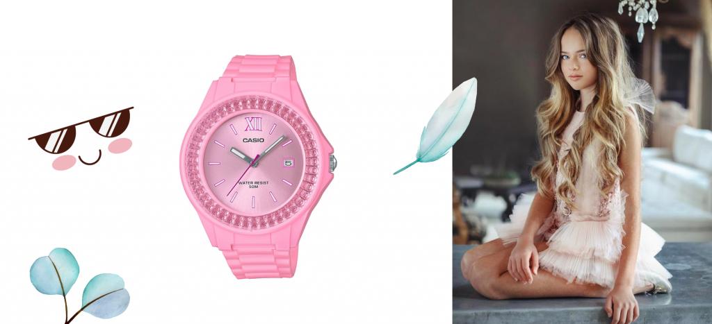 Часы розовые Касио