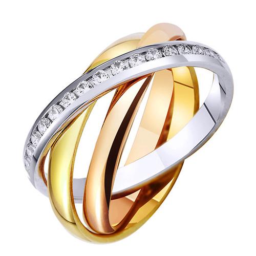 Кольцо Тринити из красного, белого и желтого золота с фианитами