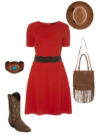 Аксессуары к красному платью в стиле кантри