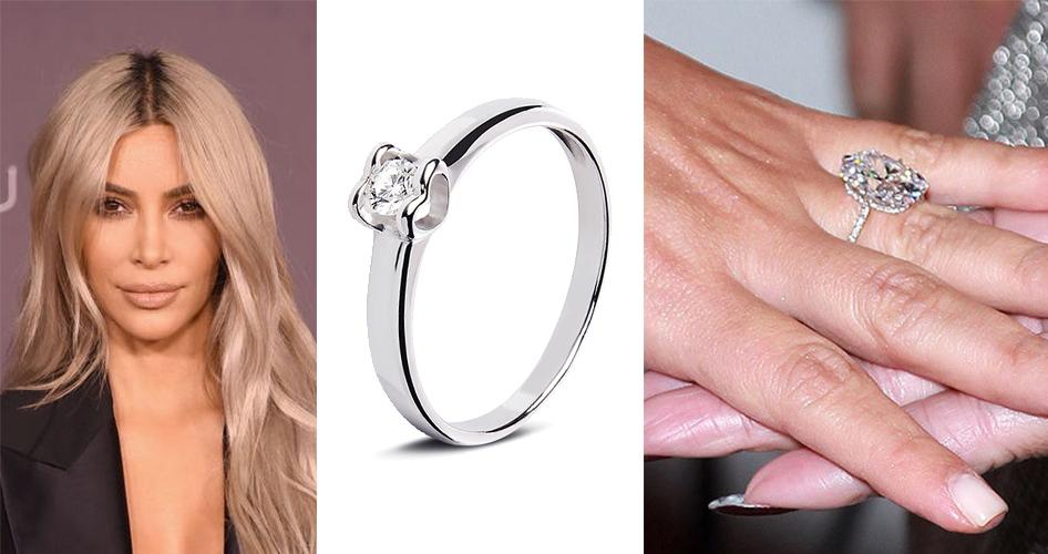 Обручальное кольцо с бриллиантом Ким Кардашьян