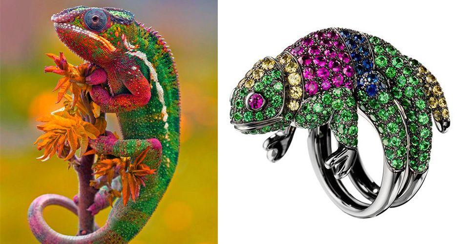 Кольцо с силуетом хамелеона