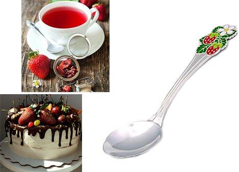 Чайная серебряная ложечка с эмалью