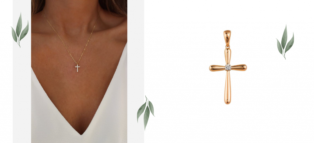 Крестик с маленьким бриллиантом