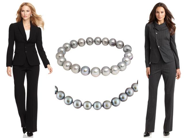 Набор с ожерельем с серым жемчугом к деловому костюму