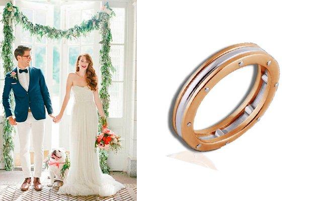 Мужское обручальное кольцо из комбинированного золота