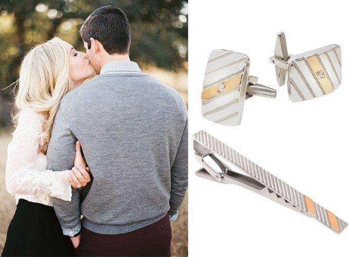 Серебряные запонки и зажим для галстука
