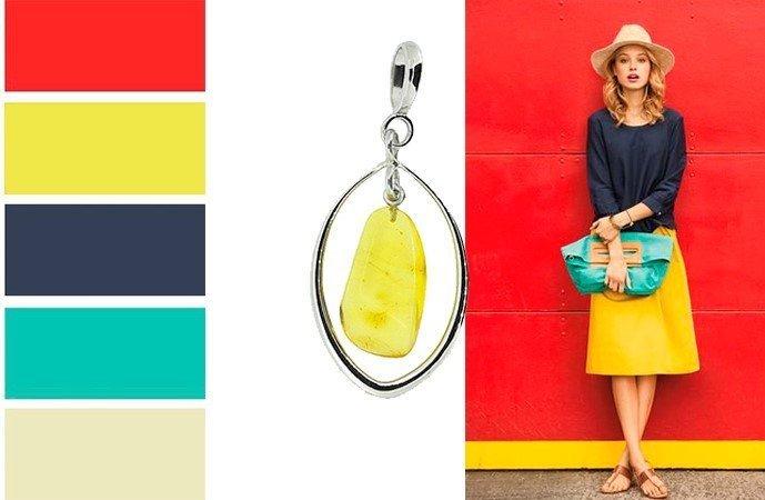 Украшение с янтарем в сочетании с разными цветами