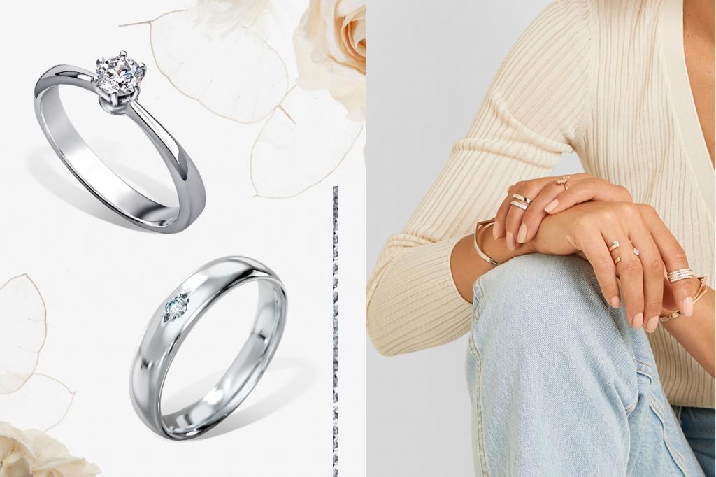 Обручальное и помолвочное кольцо белое золото