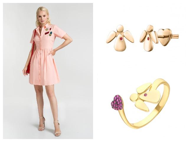 Золотые украшения с розовыми вставками