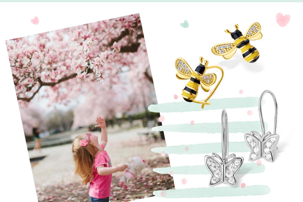 Сережки пчелки и бабочки