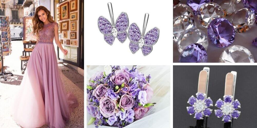 Драгоценности с фиолетовыми вставками из золота