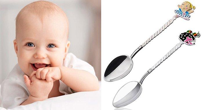 Детская серебряная ложечка