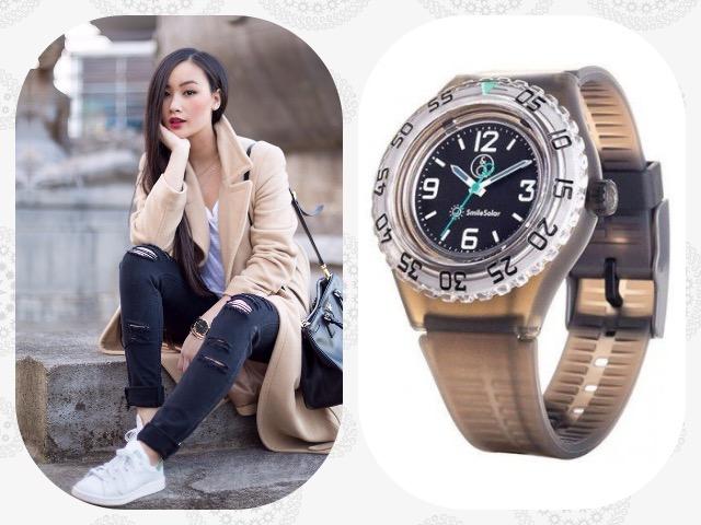 Наручные часы с пластиковым стеклом для девушки