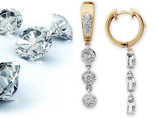 Золотые серьги-подвески с бриллиантами