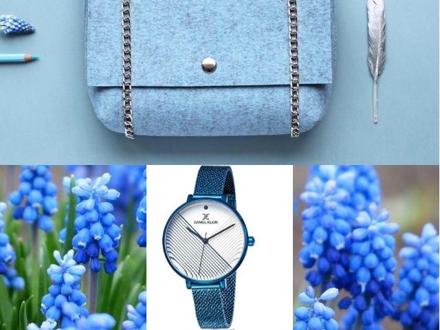 Часы на руку в голубом корпусе