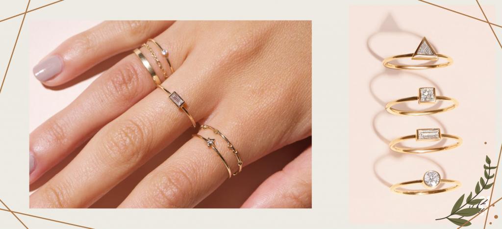 Золотые кольца с тонкой шинкой