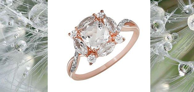 Женское кольцо с кварцем