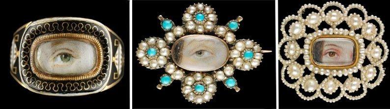 Миниатюры глаз на кольцах и брошах