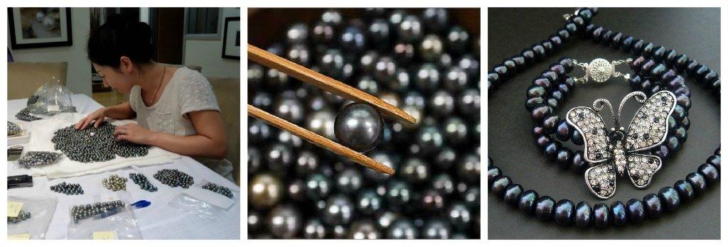 отбор бусин черного жемчуга для украшений