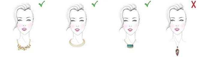 Украшения на шею для девушки с овальной формой лица