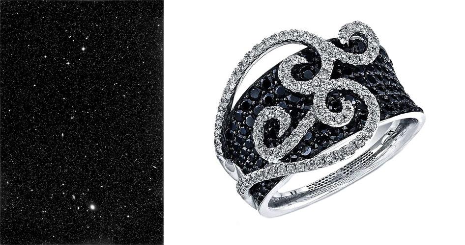 Кольцо с бриллиантом черного цвета