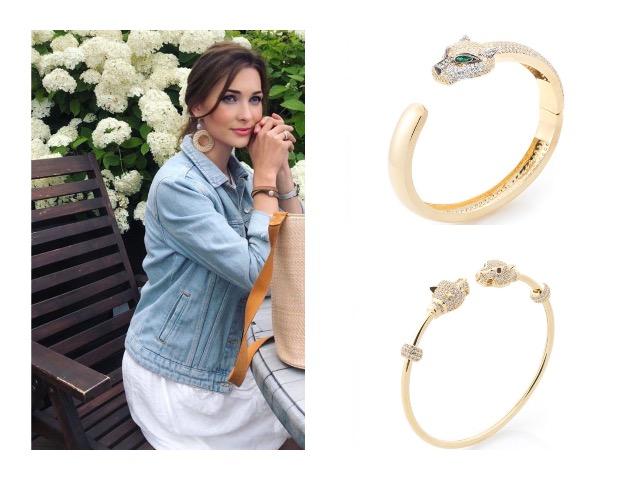 Жесткие золотые браслеты с камнями