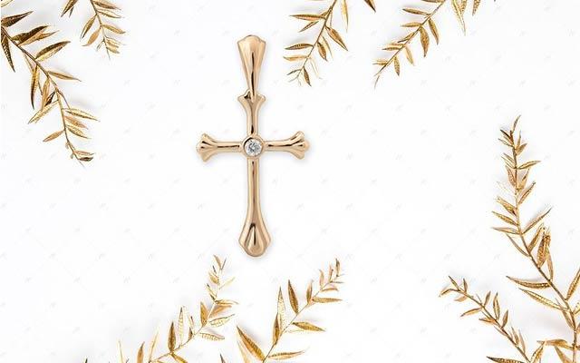 Крестик с бриллиантом золото