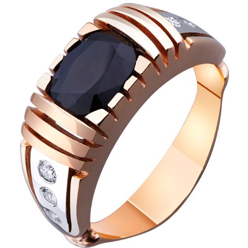 Мужское кольцо с черным сапфиром