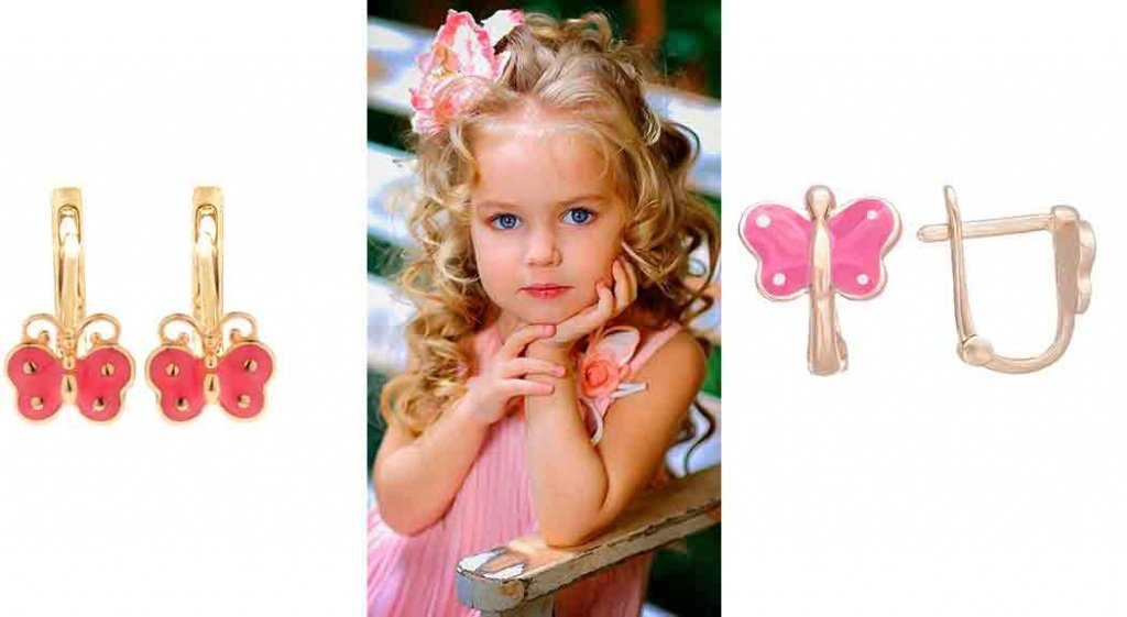 Золотые серьги с розовой эмалью