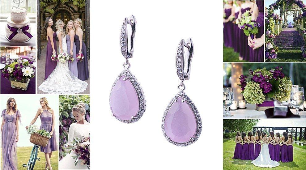 Серьги для свадьбы в фиолетовом цвете
