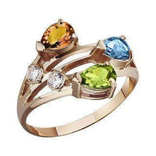 Золотое кольцо с цитрином. топазом и халцедоном