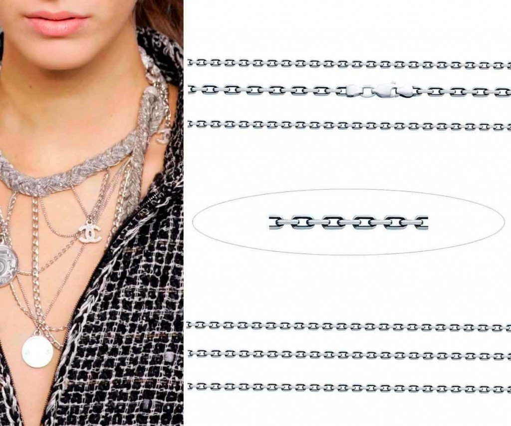 Серебряная цепочка с якорным плетением