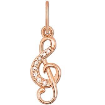 Золотой кулон в виде скрипичного ключа