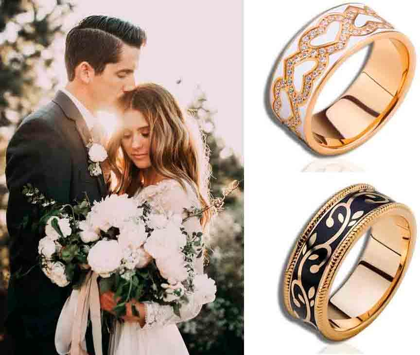 Обручальные кольца с ювелирной эмалью