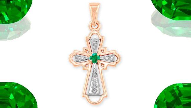 Крест с изумрудом