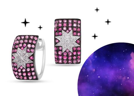 Серьги из белого золота Рассветные звезды с бриллиантами, рубинами и розовыми сапфирами